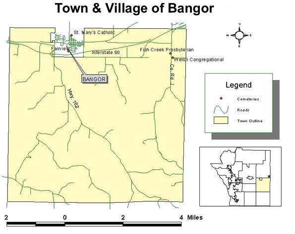 map of cemeteries in the town of Bangor