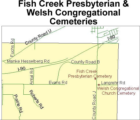 Map to Town of Bangor rural cemeteries
