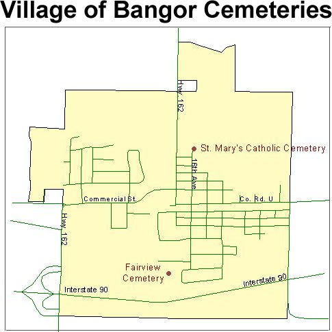 Map of Village of Bangor cemeteries