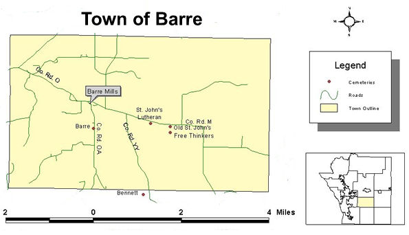 Map of cemeteries in the town of Barre