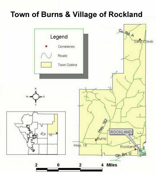 Map of cemeteriies in the town of Burns and Village of Rockland