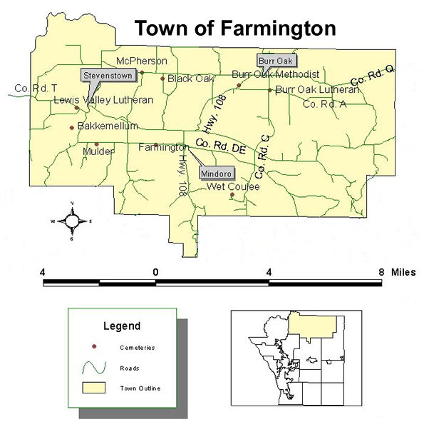 Map of cemeteries in the town of Farmington