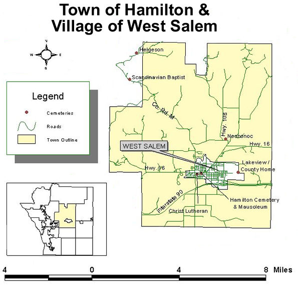 Map to cemeteries in the town of Hamilton and Village of West Salem