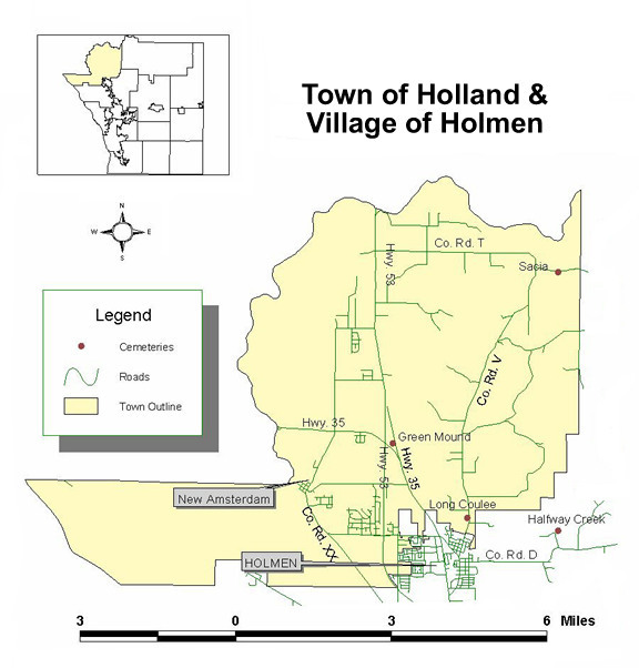 Map to cemeteries in the town of Holland and village of Holmen