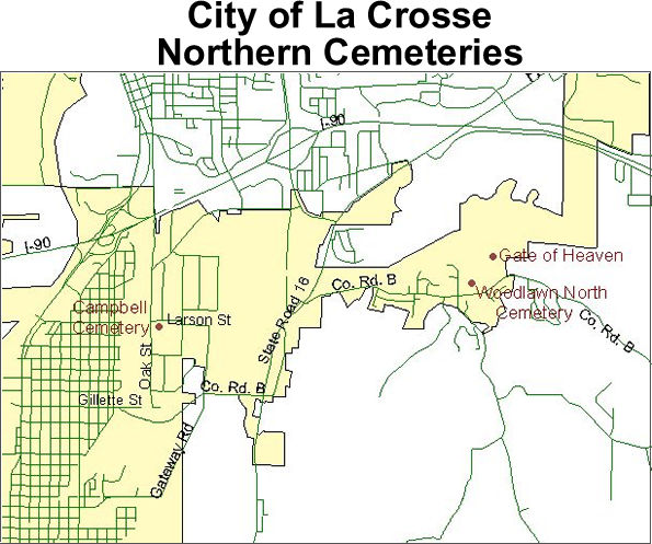 Map to cemeteries in the northern part of the City of La Crosse