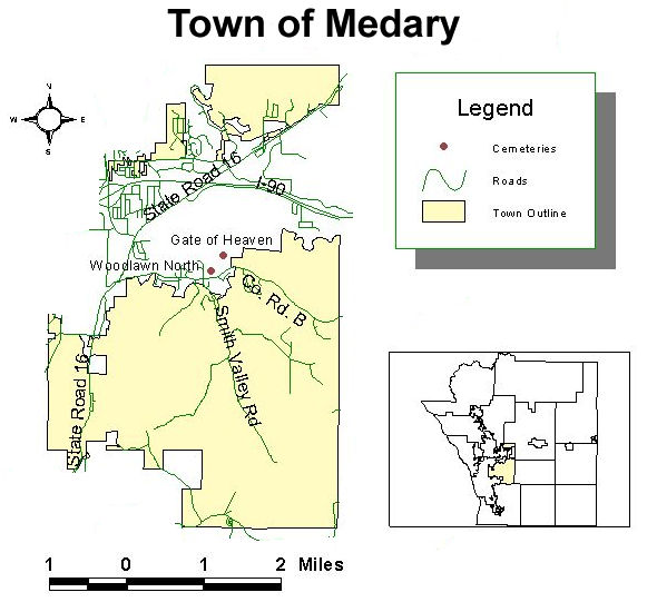Map of cemeteries in the town of Medary