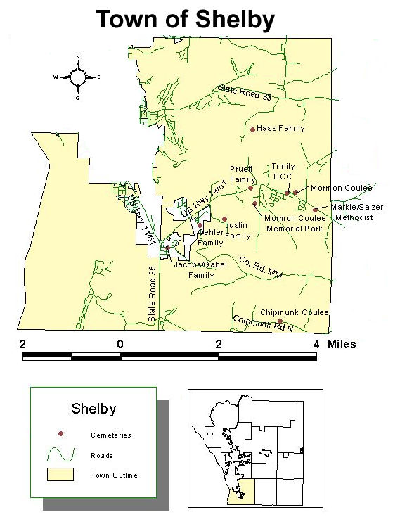 Map of cemeteries in the town of Shelby