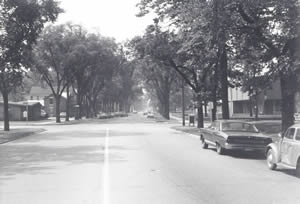 West Avenue and Main Street looking south, 1970