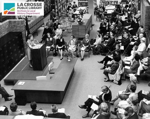 1967_new_LPL_Main_building_dedication_Gertrude_Thurow_speaking_Nov_5_1967_derivative_credit.jpg