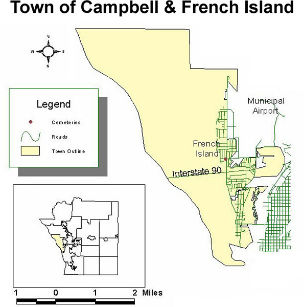 Map of cemeteries in the town of Campbell and French Island